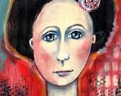 ORIGINAL FOLK ART ACRYLIC PAINTING ON WOOD -- 7 x 10 x 3\/4 -- WOMAN ON RED