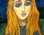 ORIGINAL FOLK ART ACRYLIC PAINTING ON WOOD -- PRINCESS -- 9 x 12