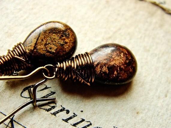 T H O U G H T S... Bronzite on brass earrings