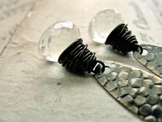 C R Y S T A L. R O C K S... Mystic white quartz and brass earrings