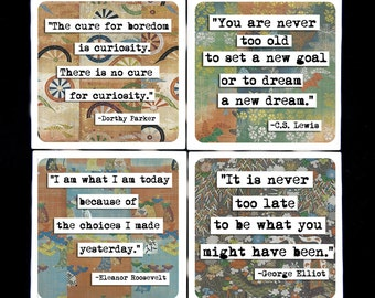 ChicalooKate Literary Quotes Ceramic Coaster Set