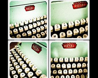 Vintage Royal Typwriter - Ceramic Coaster Set
