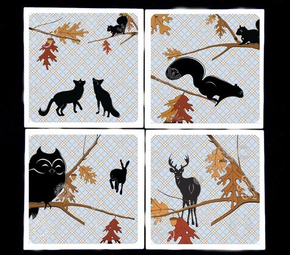 imogenefroward Into the Woods Set Ceramic Coasters
