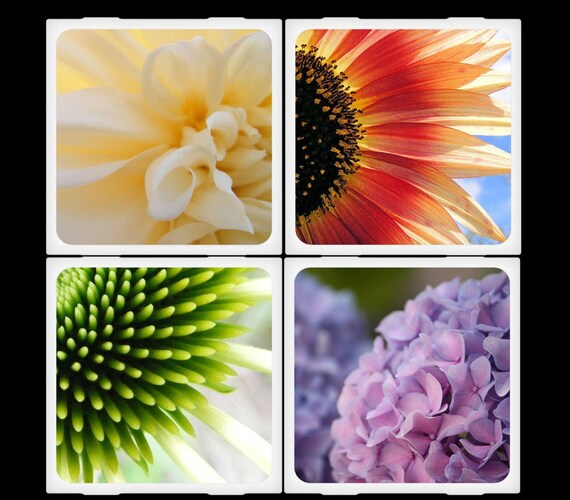 FlandersField Half Circle Floral Set Ceramic Coasters