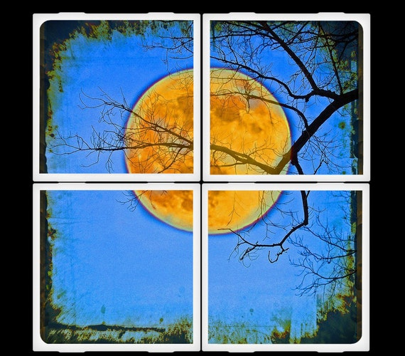 LDphotography Harvest Moon Ceramic Coasters Set