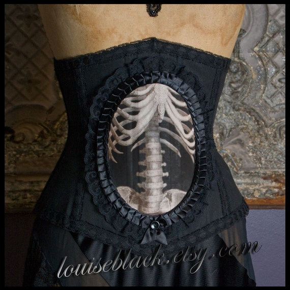 SALE Nouveau Skeleton Corset  by Louise Black Ready to Ship Size Large 27 Inch Victorian Anatomical Medical Cincher