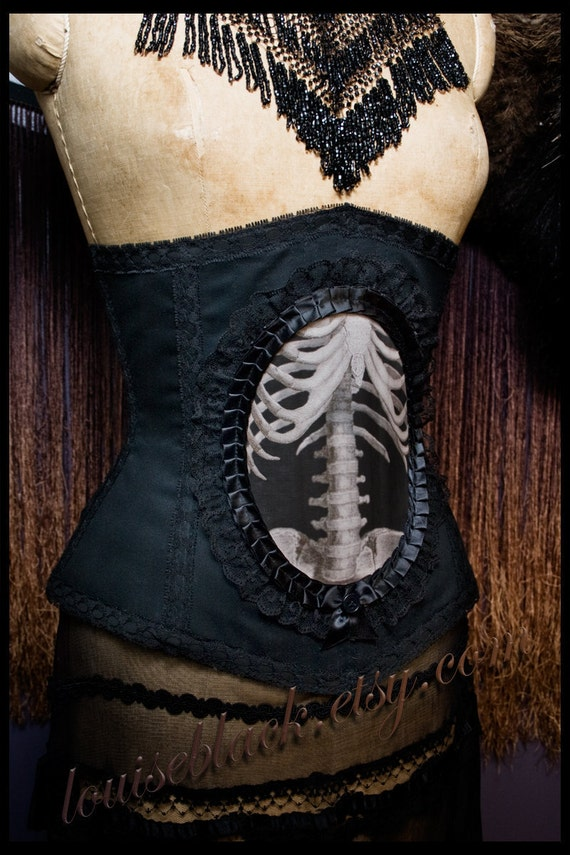 Custom Victorian Anatomical Skeleton Cameo Corset by Louise Black