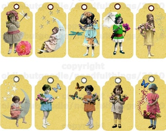Whimsy Vintage  Kids Tags digital collage sheet