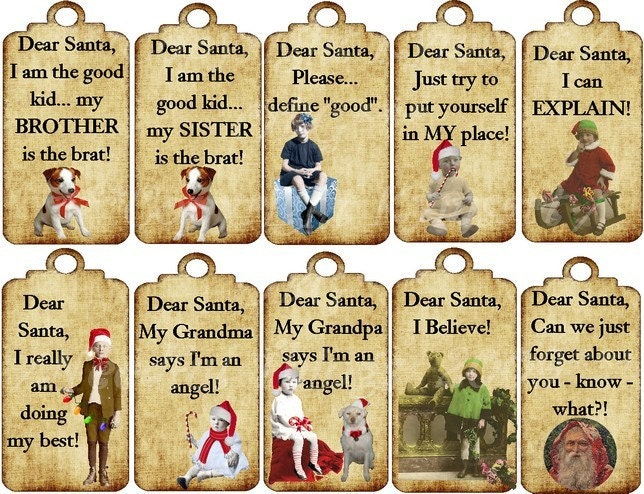 Dear Santa gift tags by OldieButGoodie on Etsy