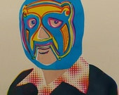 SALE - LAST ONES -Screenprint - Wrestling Salary Man - Handpulled silkscreen print
