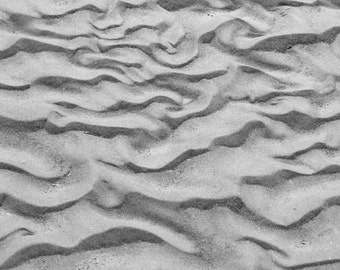 Photography - Sand Patterns - 8x10 Black and White Nature Photograph - Monochromatic Beach Landscape