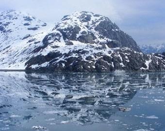 Reflecting - 5x7 Scenic Landscape Nature Photograph - Reflections in Glacier Bay Alaska - IN STOCK