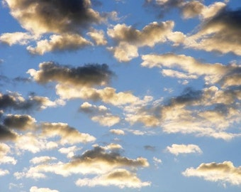 Ethereal - 8x10 Fine Art Nature Photograph - Light Blue Morning Sky Cloudscape - Clouds at Sunrise