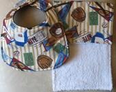Vintage Baseball Bib and Burp cloth set