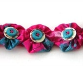 Fabric YoYo Button Bracelet Cuff Snaps On Spring Colors