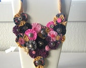 Boho Statement Necklace, Necktie Fabric Bubbles and Buttons with Brooch, OOAK, Bib, Versatile Snap On Upcycle Choker Heart