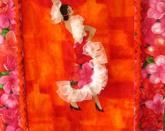 Fiber Art Wall Hanging Hot Salsa, Cha Cha Cha, Ole Quilted Decorative Art