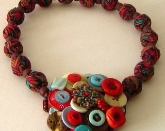 Necklace Late Indian Summer Button Statement Bib Brooch Versatile One of a Kind