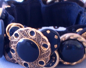 Black and Gold Button Bracelet OOAK Classic Gift for Mom Small Size