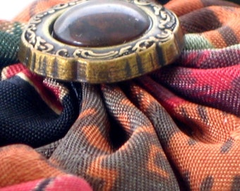 Fabric Yo yo Button Bracelet Snazzy Snappie Snap On and Off Fall Colors Handmade Unique Autumn