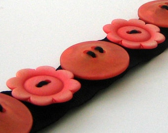 Button Bracelet Snaps On and Off Hand Sewn Handmade Recycle Upcycle Orange Red