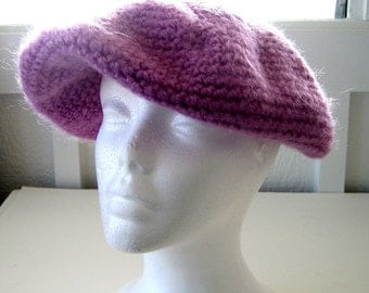 Crochet Winter Hat Raspberry Color - Slouchy with an Attitude - Beret - Tam - Rasta - USA Made - Versatile - Stylish