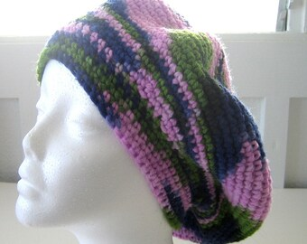 Crochet Winter Hat Adult - Beret - Slouchy - Sassy Multicolored - USA Made