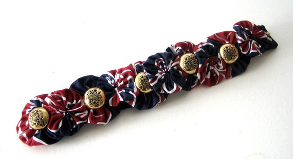 Wrist Cuff Ankle Bracelet Red White and Blue Fabric Bubbles Buttons Yoyo Snappie Fiber Wearable Patriotic