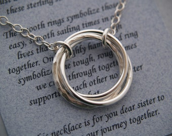 4 SISTERS JOURNEY NECKLACE - Set of Four Necklaces - Sterling Silver with poem - Sister Love - Friendship