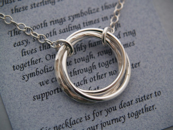 3 SISTERS JOURNEY NECKLACE Sterling SIlver with poem
