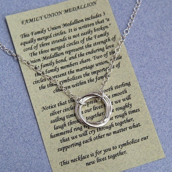 FAMILY UNION MEDALLION Necklace Sterling Silver with Poem -  Wedding - Marriage - Step Children - Unity Necklace