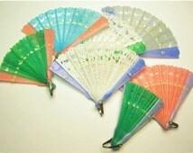 3 x Vintage BLUE + WHITE Little Plastic Folding Fan Favors