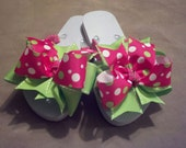 Boutique  Hot Pink and Lime Green hairbow flip flops GIRLS youth