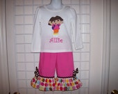 Dora Applique Monogram T-shirt with Ruffle Shorts or Capri or Pants