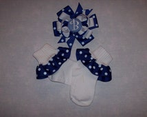 Monogram Layered Hair Bow and Ruffled Ribbon Socks to Match any Oufit or Dress or Overalls