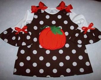 Chocolate Brown Dot PUMPKIN Applique FALL Halloween Thanksgiving Dress & Ruffled T-shirt 3 mo 6 mo 9 mo 12 mo 18 mo 24 mo 2T 3T 4T 5T 6 6X