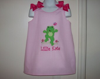 Cute Frog Applique with Monogram A-line Dress