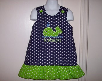 Navy Blue Polka Dot Ruffle Dress with Lime Dot Whale Applique - vacation dress - beach dress - whale birthday party dress - school dress
