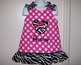 Hot Pink Dot Minnie Mouse Applique Monogram Dress with Zebra Ruffle