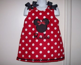Red Polka Dot Mnnie Mouse Applique with Monogram A-line Dress - Birthday Party Dress - School - Vacation - Mickey Mouse
