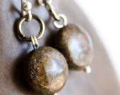 Earrings Large Sterling Silver with Bronzite