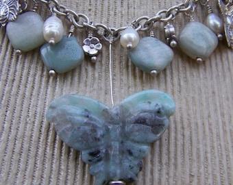 Kiwi Quartz Butterfly and Opal Necklace by Swirly Girls