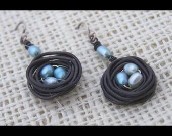 Birds Nest Earrings by Swirly Girls