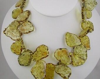 Acrylic Golden Amber Chip Necklace Swirly Girls