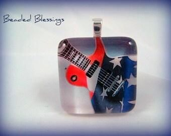 Born In The USA Guitar Glass Tile Pendant
