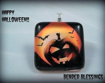 Fright Night Halloween Pumpkin Glass Tile Pendant