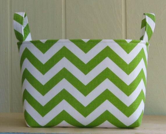 Fabric Storage Bin- Organizer- Chevron- Zig Zag- Chartreuse- White- Large