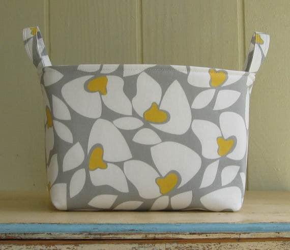 Fabric Storage Bin- Organizer- Flowers- White- Yellow- Grey- Large