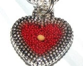 Mustard Seed Red Heart Necklace