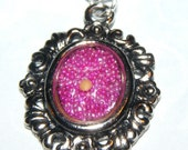 Mustard Seed Frame Necklace with Pink Background